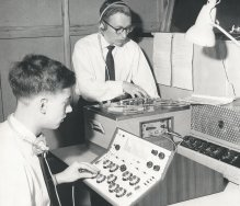 Theater sound control booth (house sound and stage sound effects). 1960's Revox 736, 8-channel mixer built by those two guys, vacuum tube amplifier connected to front-of-house loudspeakers. Photo appeared in local newspaper.
